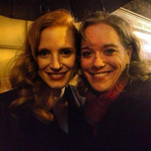 "Meeting two-time Academy Award Nominee Jessica Chastain outside of ""The Heiress"" in January 2013"