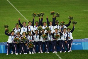 The US Women's Soccer Team celebrate their Olympic Gold Medal in Athens, 2004.