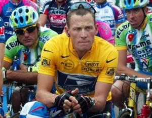 Lance Armstrong in the yellow jersey indicating the Tour de France leader.