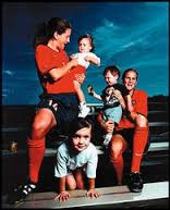 Joy Fawcett and Carla Overbeck with their kids in 1999