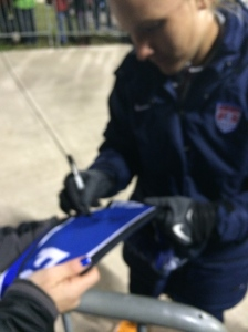 Amy Rodriguez signing my FC Kansas City scarf after the game.