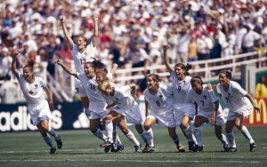 Soccer: FIFA World Cup Final: Overall view of Team USA players victorious on field after winning match vs China at Rose Bowl Stadium. Pasadena, CA 7/10/1999 CREDIT: Peter Read Miller (Photo by Peter Read Miller /Sports Illustrated/Getty Images) (Set Number: X58265 TK3 R5 F5 )